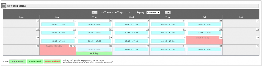 Employees view their forthcoming shifts in a simple calendar view.